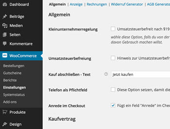 Screenshot WooCommerce Germanized Plugin