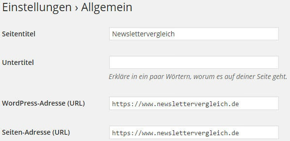 WordPress SSL Einstellungen
